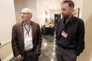 Dr. Bruce Miller, left, co-director of the Tau Consortium, and Todd Rainwater, right, son of Richard Rainwater and Rainwater Foundation member
