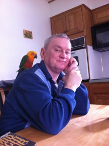 John Royer with Parrot