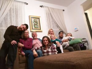 • Sonat (son-in-law), Mary Lou, Isik (husband), Melis (daughter), Becky (daughter), Zeynep (granddaughter), Zain (son-in-law), Safiye (granddaughter) celebrating Christmas in Jersey City, 2014