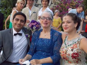 From left: Zain, son-in-law, Mary Lou, Melis, daughter, at Melis' wedding in Bodrum, Turkey, August 2013